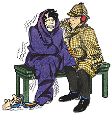 Man comforting a shivering woman in a blanket.