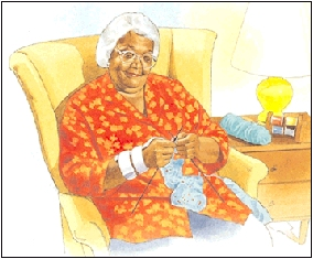Image of older woman sitting in a chair knitting