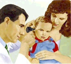 Woman holding toddler boy on lap. Healthcare provider is examining boy's ear with otoscope.