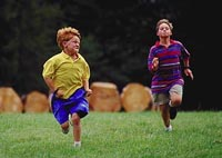 Picture of two young boys running