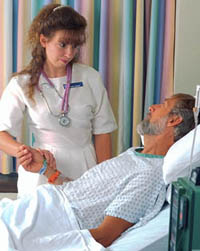 Picture of a female nurse with a patient