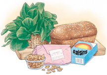 Green leafy vegetables, package of meat, nuts, raisins, and whole-grain bread.