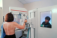Picture of a mammogram procedure