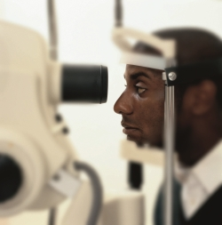 Patient having annual eye exam