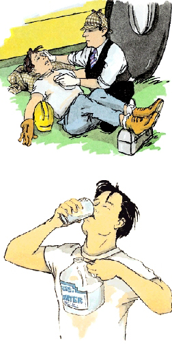 Man lying on ground on back. First aid giver has removed man's shirt, supported man's head with rolled-up cloth, and raised man's legs on box. First aid giver is holding cool cloth to man's chest. Man drinking water from glass and holding jug of water in other hand.
