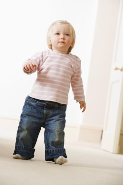 A toddler walking